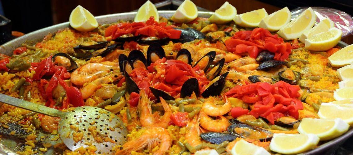paella, rice, scampi